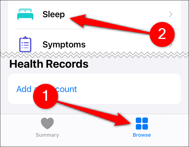 "Tap ""Browse,"" and then tap ""Sleep."""