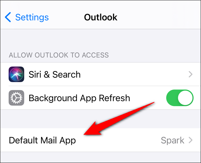 "Select the ""Default Mail App"" option"