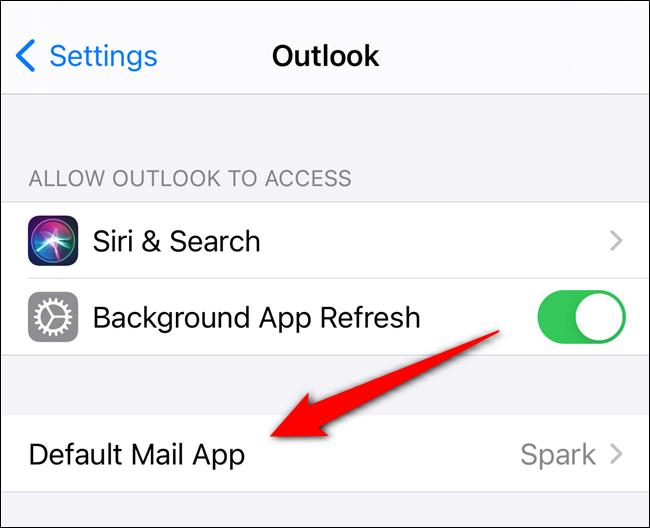 "Select the ""Default Mail App"" option"