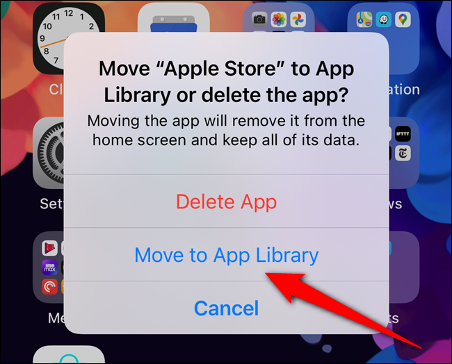 """Select the """"Move to App Library"""" button"""
