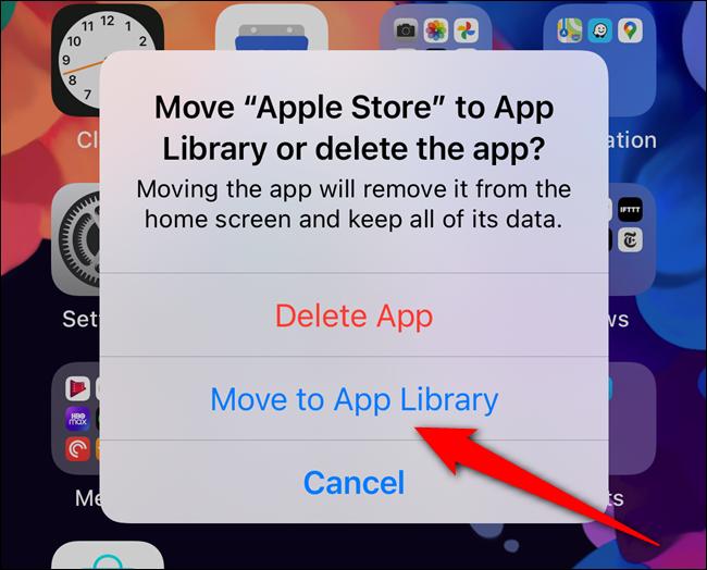 """Selecione o botão """"Mover para a biblioteca de aplicativos"""""""