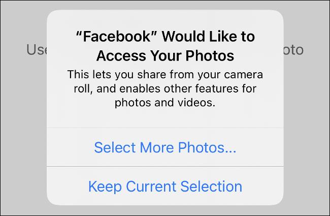 """Nhấn vào """"Chọn thêm ảnh"""" trong lời nhắc cấp quyền ứng dụng."""