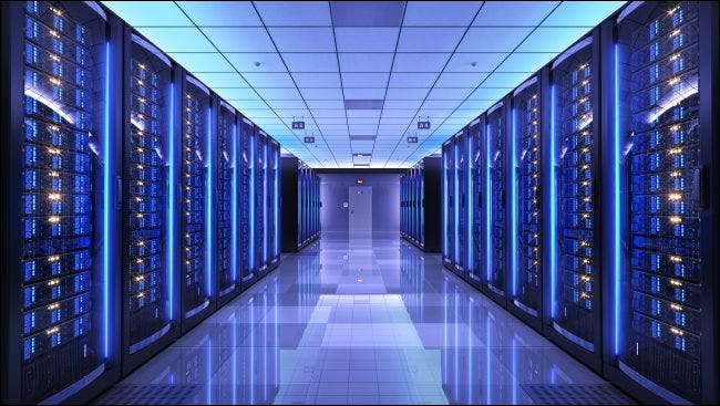 Server racks in a server room.
