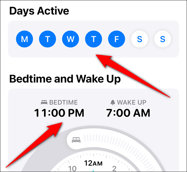 """Tap the days of the week you want to use this schedule, and then set your """"Bedtime"""" and """"Wake Up"""" times."""