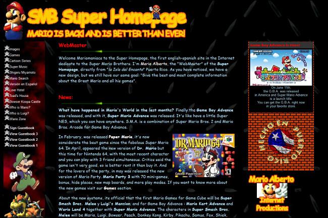 El sitio web de SMB Super Homepage en GeoCities.