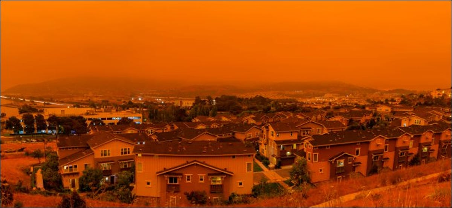 An orange sky and wildfire smoke above San Francisco.