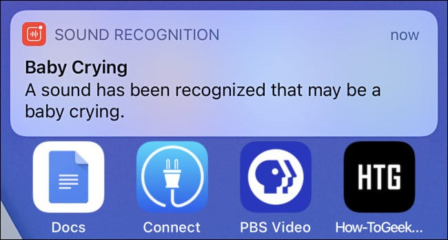 A Sound Recognition alert notification on iPhone for a baby crying.