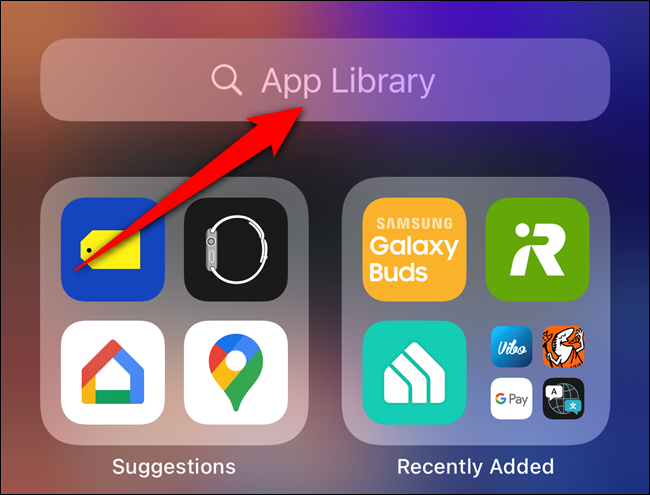 "Tap the ""App Library"" search bar"