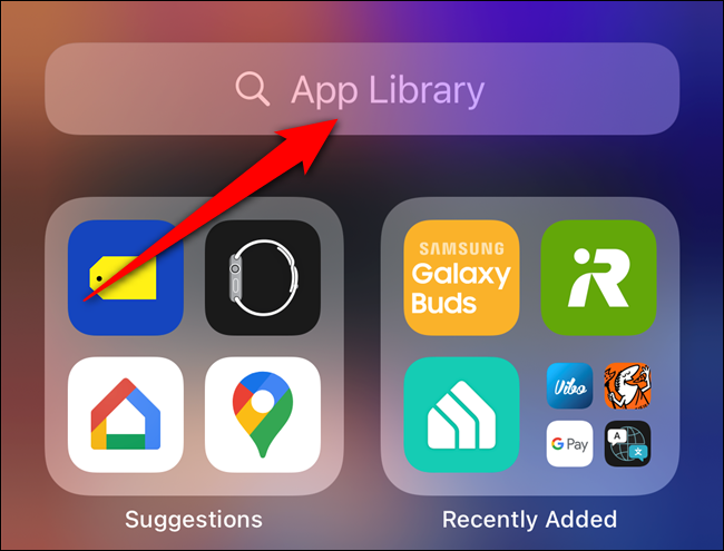 """Tap the """"App Library"""" search bar"""
