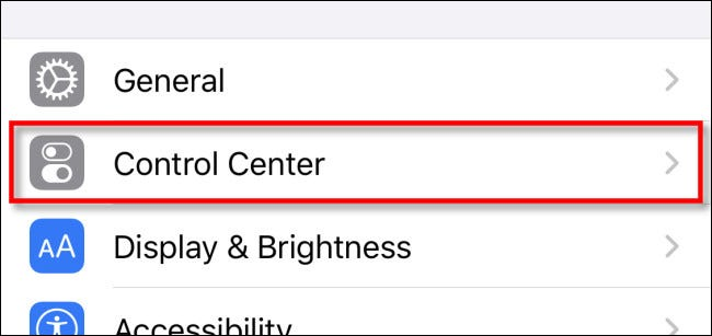 "In Settings, tap ""Control Center"""