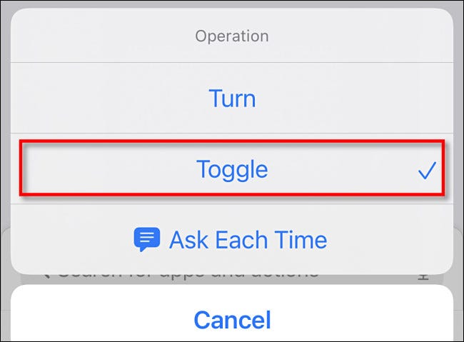 """In the Operation list, select """"Toggle."""""""