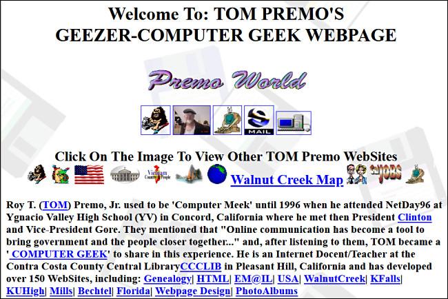 Página web Geezer-Computer Geek de Tom Premo sobre GeoCities.