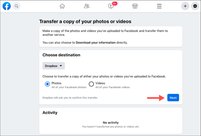Transfer Facebook photos or videos