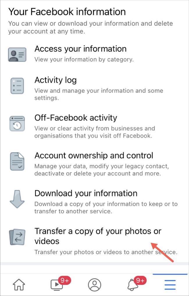 Seleccione la opción de transferir fotos y videos en la aplicación de Facebook