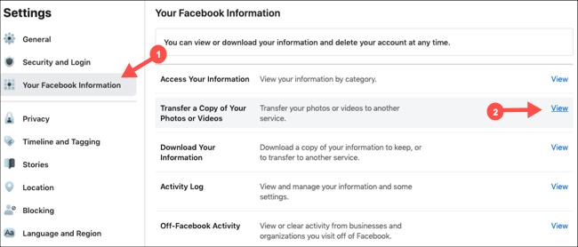 Seleccione Transferir copia de imágenes y videos en la configuración de Facebook