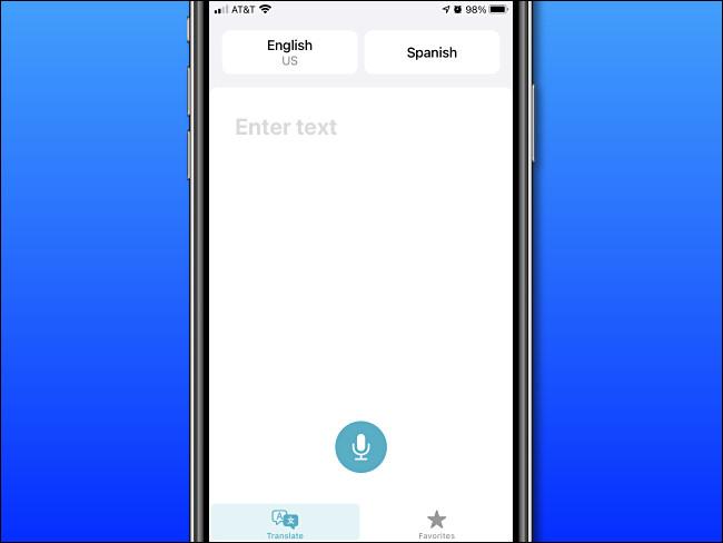 Pantalla de entrada básica de Apple Translate en iPhone