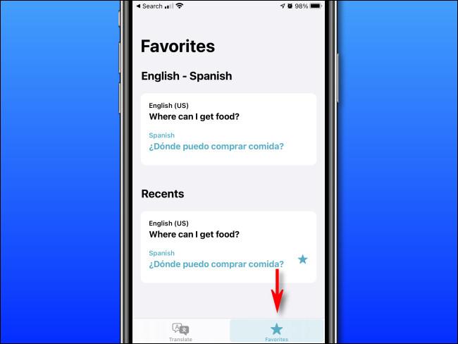 """En Apple Translate en iPhone, toque el botón """"Favoritos""""."""
