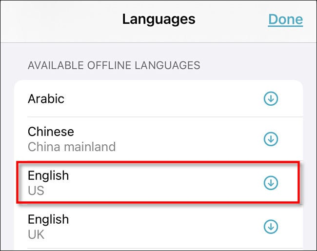 """Tap a language in the """"Available Offline Languages"""" section."""