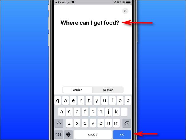 """En Apple Translate en iPhone, ingrese el texto que desea traducir usando el teclado en pantalla, luego toque """"ir""""."""