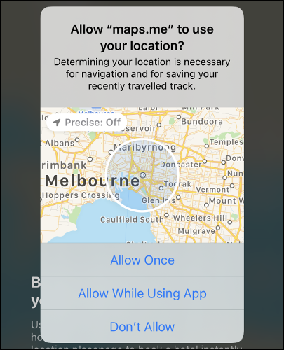"""A """"Precise: Off"""" location on a map in iOS 14."""