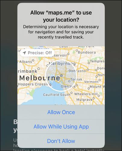 """Vị trí """"Chính xác: Tắt"""" trên bản đồ trong iOS 14."""