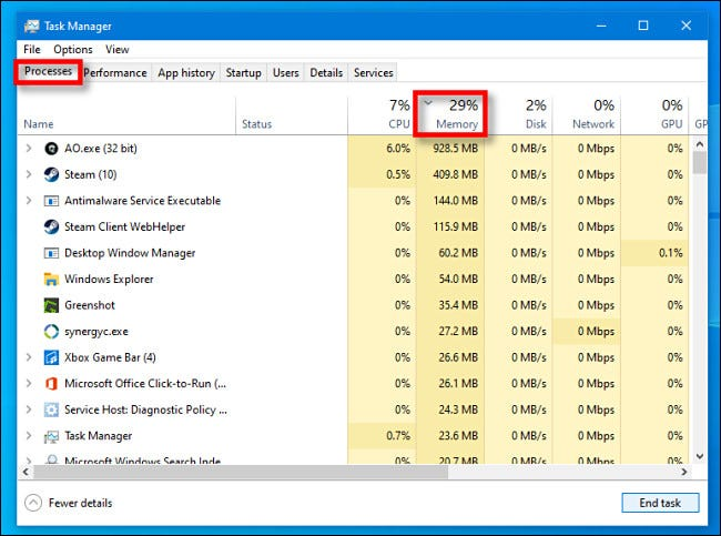 "In Task Manager for Windows 10, click the ""Processes"" tab, then click the ""Memory"" column header."
