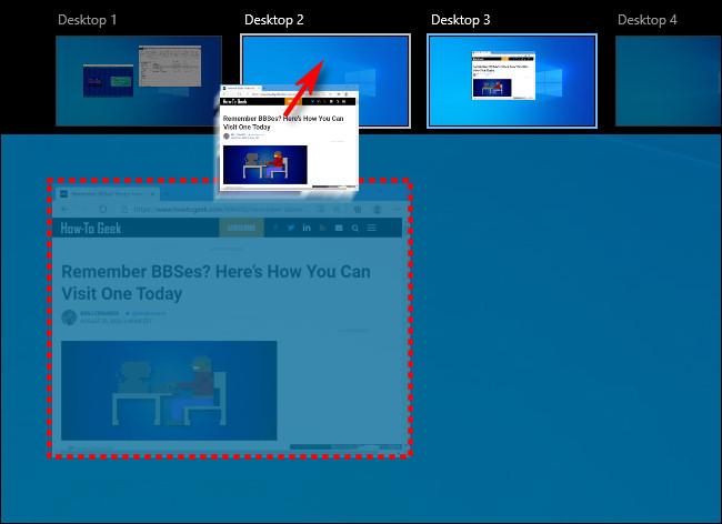 Dragging a window between virtual desktops on the Task View screen in Windows 10.