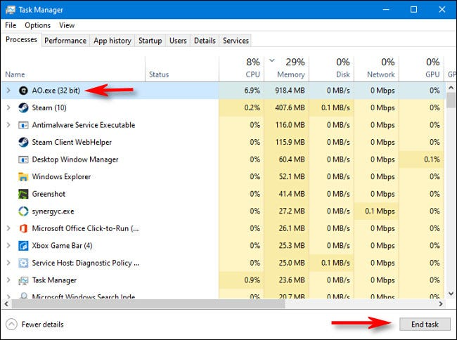 "To kill a process in Task Manager for Windows 10, select the process from the list and click ""End task."""