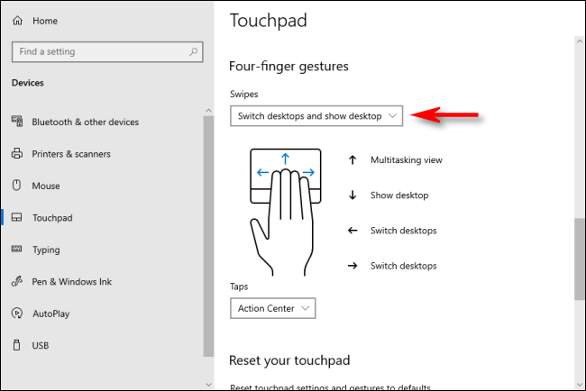 Four-Fingered TouchPad Gestures in Windows 10 that switch Virtual Desktops