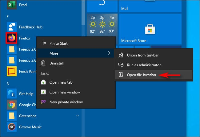 Encontrar o local de atalho de um aplicativo usando o menu Iniciar no Windows 10