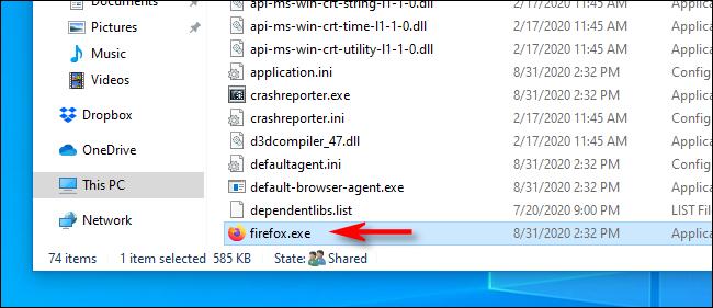 Localizar el archivo EXE de una aplicación en el Explorador de archivos en Windows 10.
