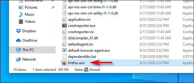 Locating an application's EXE file in File Explorer on Windows 10.