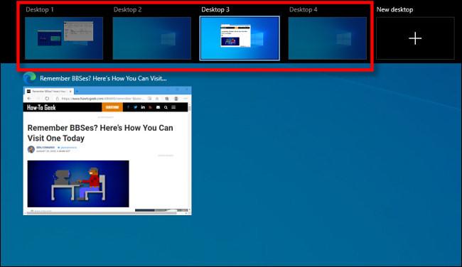 The Windows 10 Task View Screen that displays virtual desktops