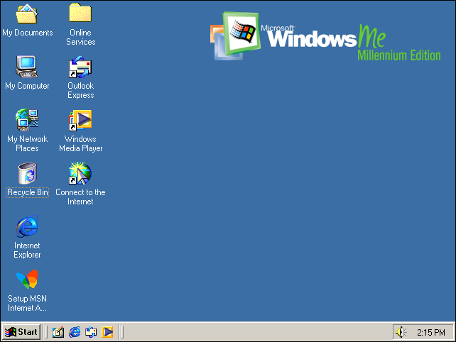 The default Windows Millennium Edition desktop.