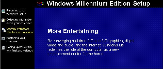 The Windows Millennium Edition setup process.