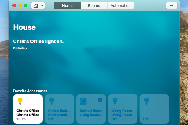 Controlling Hue lights in the Home app on a Mac.