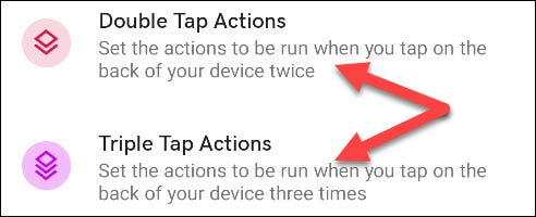 "Select either ""Double Tap Actions"" or ""Triple Tap Actons."""