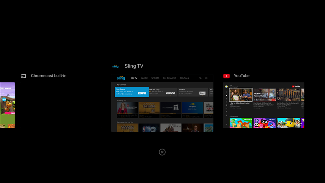 android tv recent apps