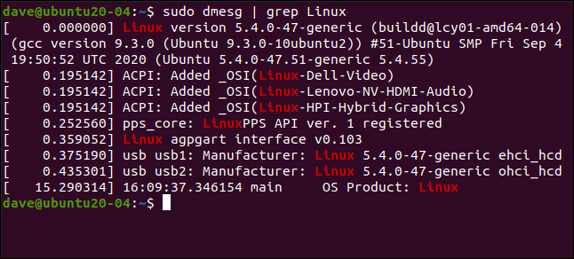 sudo dmesg | grep Linux in a terminal window.