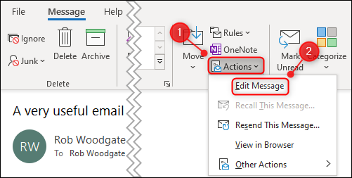"""The """"Actions"""" option and """"Edit Message"""" menu option."""