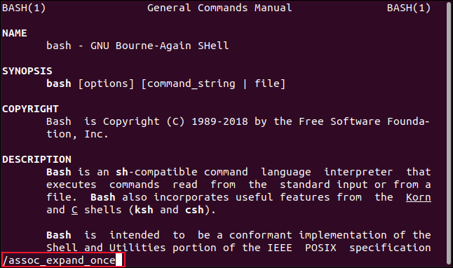 Bash section of the manual, with a search term entered on the command line in a terminal window.