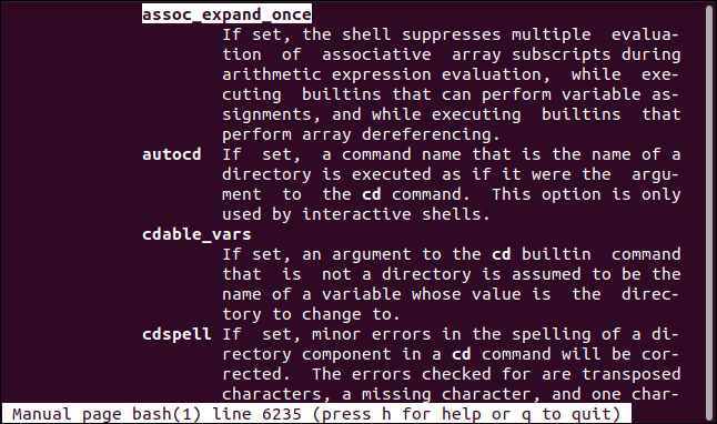 The manual that shows the section shopt options on the Bash man page in a terminal window.