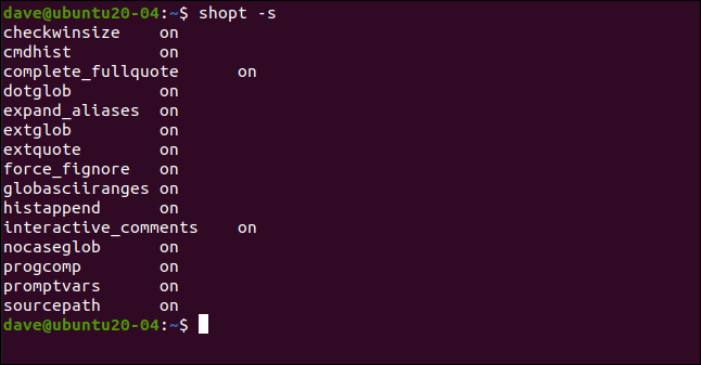 shopt -s in a terminal window.