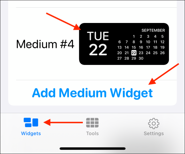 Tap the widget size you want.