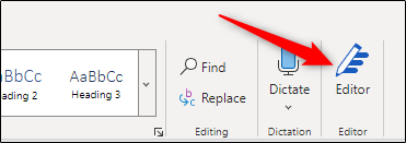 Editor option in the ribbon