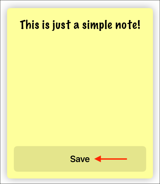 Enter text and press Save