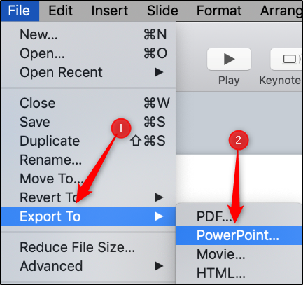 "Hover over ""Export To,"" and then click ""PowerPoint."""