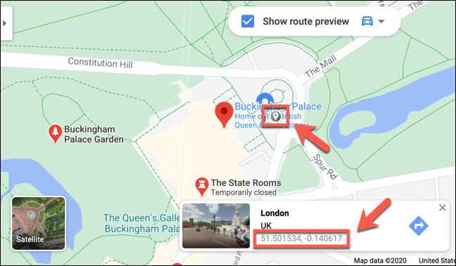 The coordinates of Buckingham Palace, London are displayed on the Google Maps website
