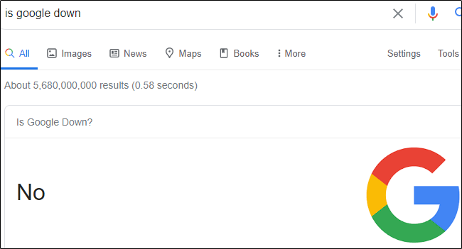 """""""No"""" in response to """"Is Google Down"""" in the Search bar."""
