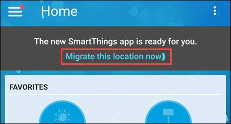tap the smartthings migrate banner